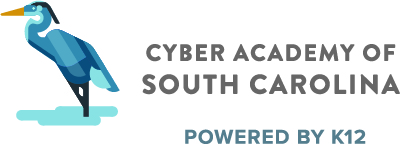 Logo of Cyber Academy of South Carolina with text Powered by K12