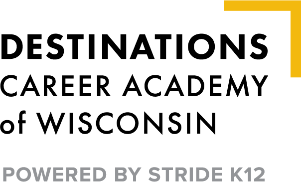 Logo of Destinations Career Academy of Wisconsin - Powered by K12